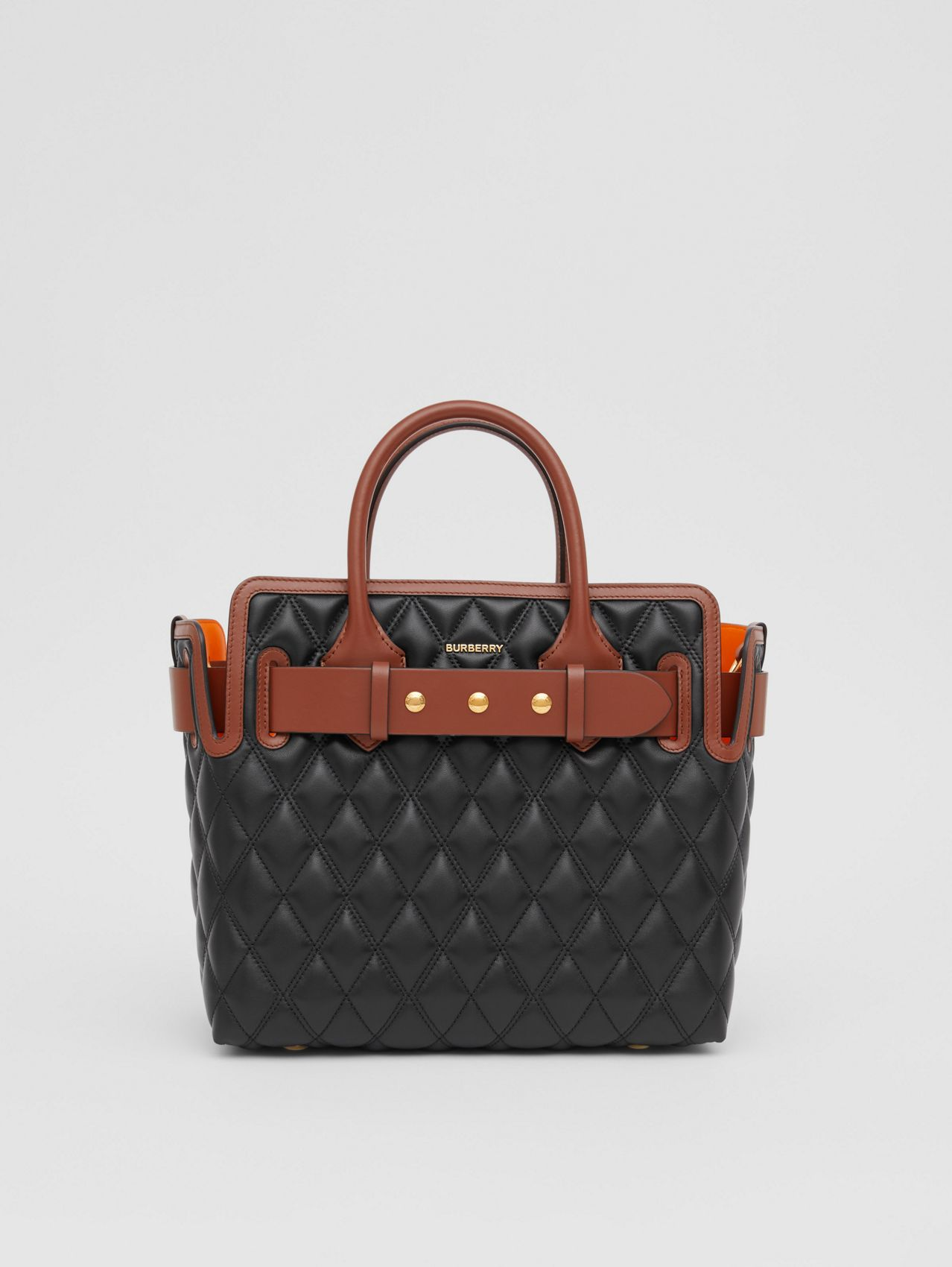 The Small Quilted Lambskin Triple Stud Belt Bag in Black