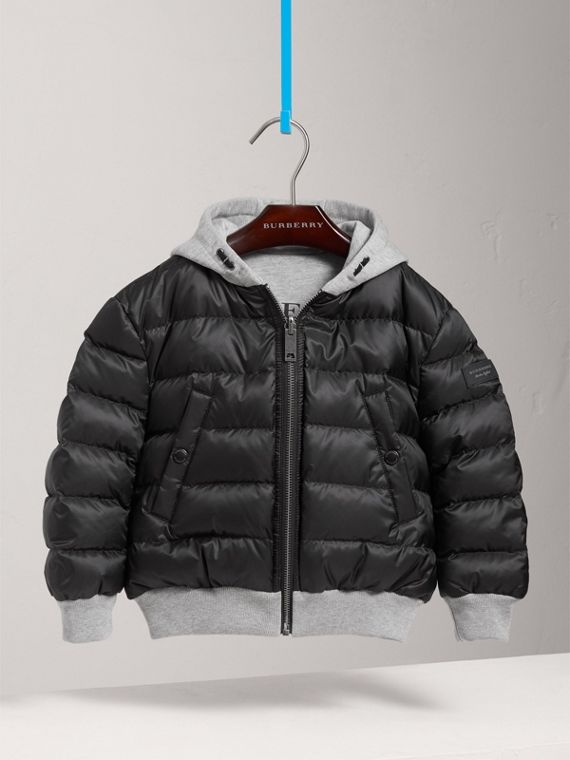 Reversible Down-filled Hooded Puffer Jacket in Black