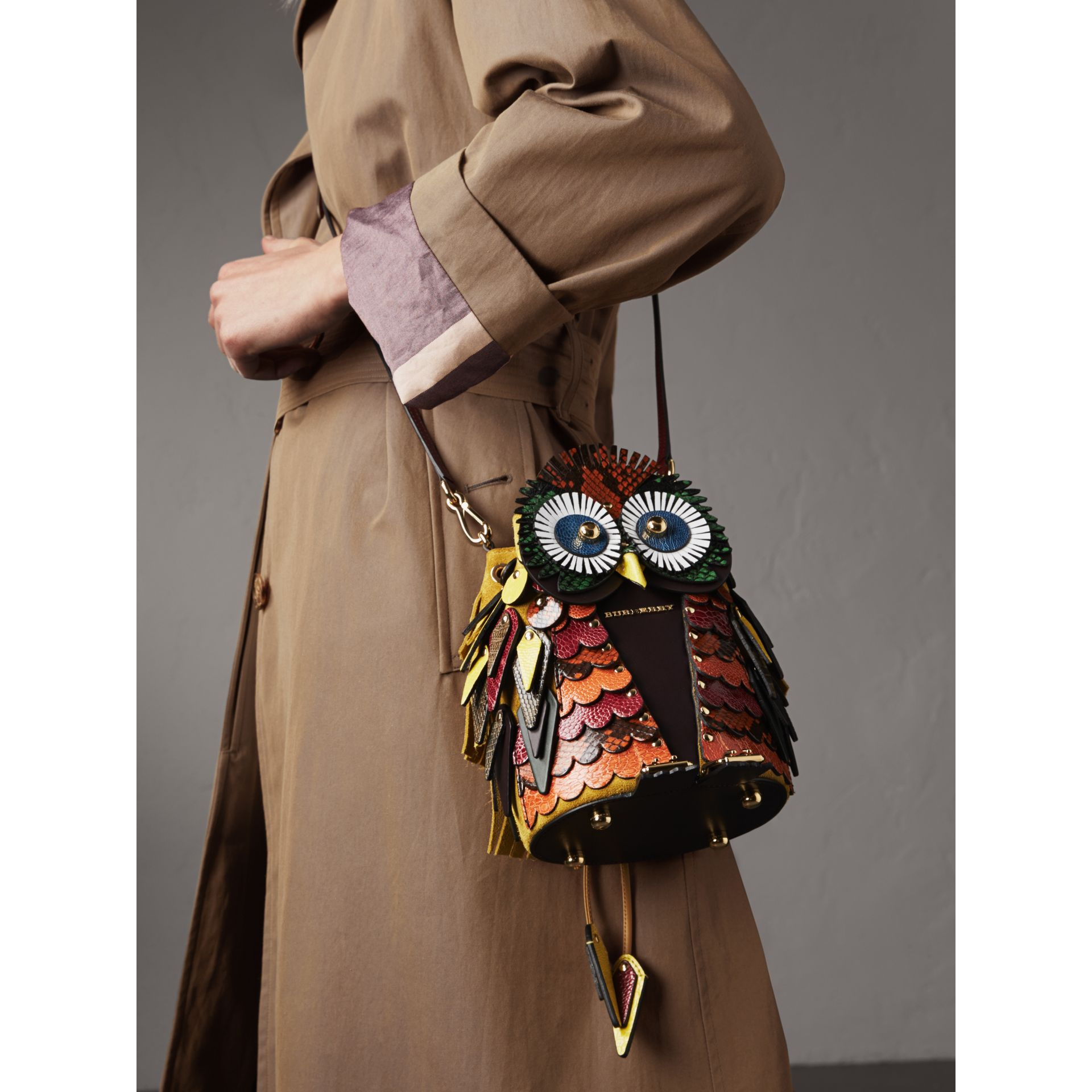 The Owl – Calf Suede and Snakeskin Crossbody Bag in Wine - Women | Burberry - gallery image 4