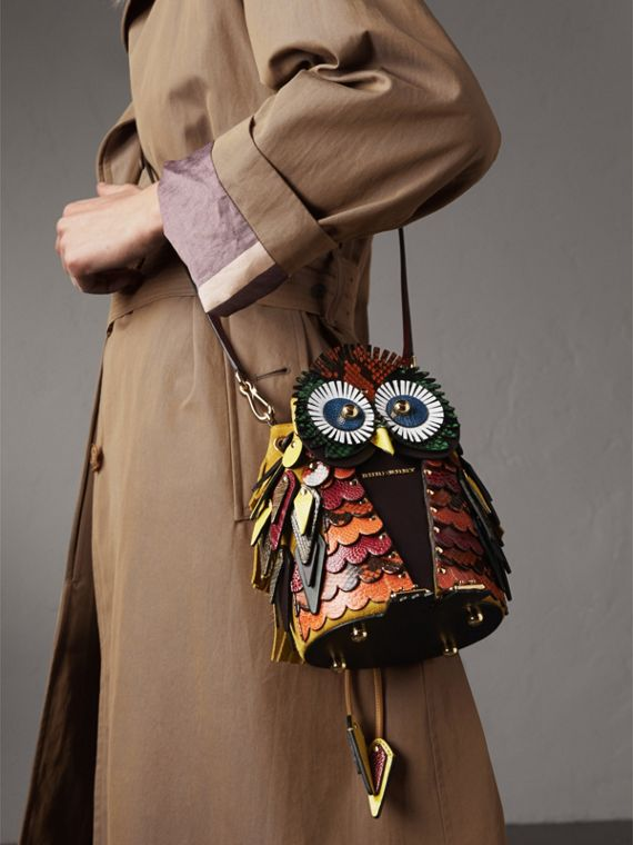 The Owl – Borsa a tracolla in pelle di vitello scamosciata e pelle di serpente (Vino) - Donna | Burberry - cell image 3