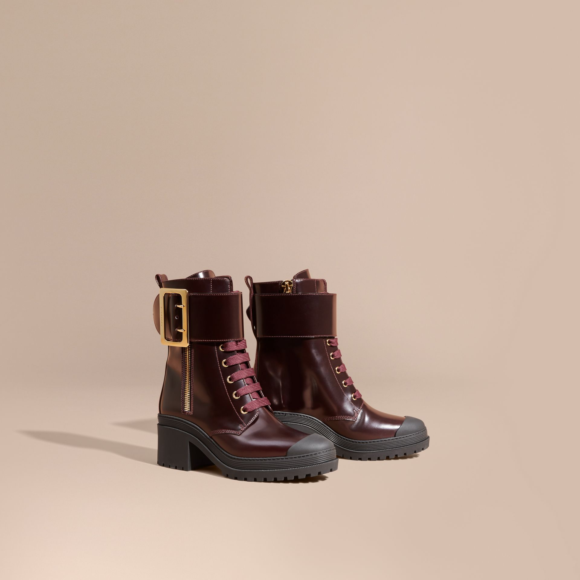 Leather Buckle Detail Boots Bordeaux - gallery image 1