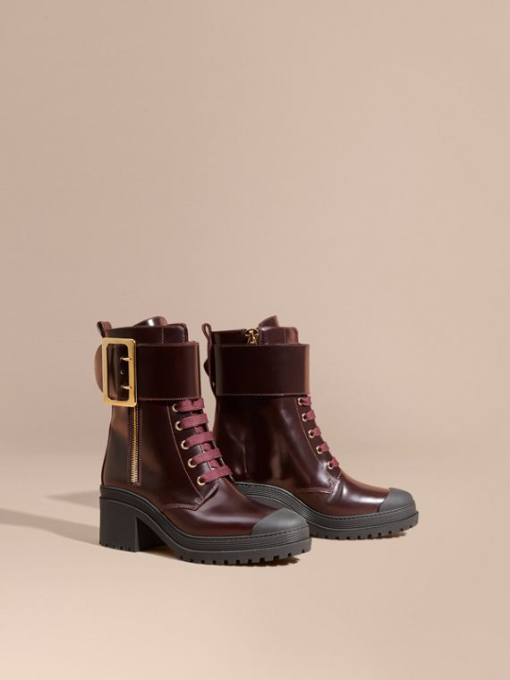 Leather Buckle Detail Boots Bordeaux