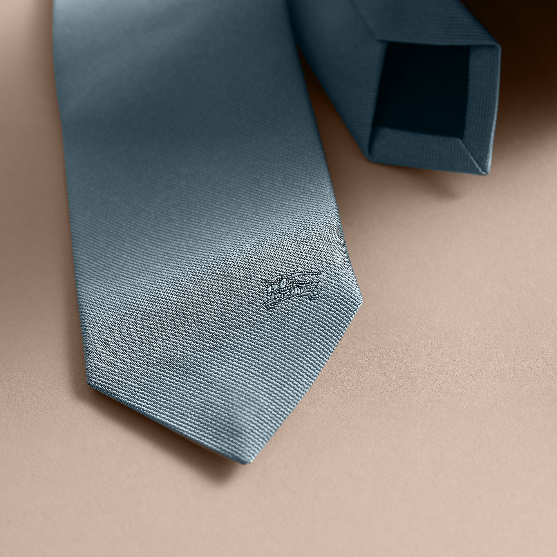 Slim Cut Silk Twill Tie in Sky Blue - Men | Burberry - gallery image 1