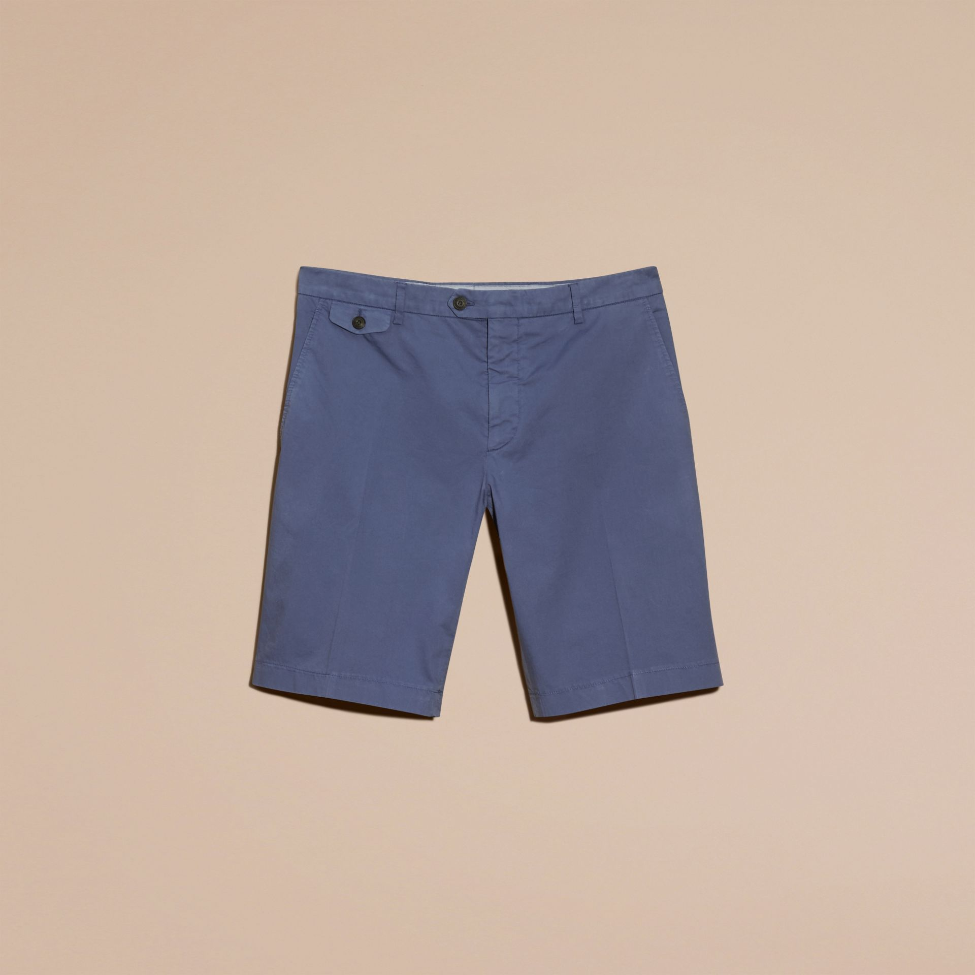 Bright steel blue Stretch Cotton Shorts - gallery image 4