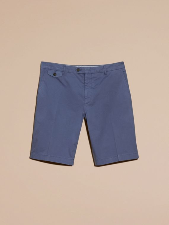 Bright steel blue Bermudas de algodão stretch - cell image 3