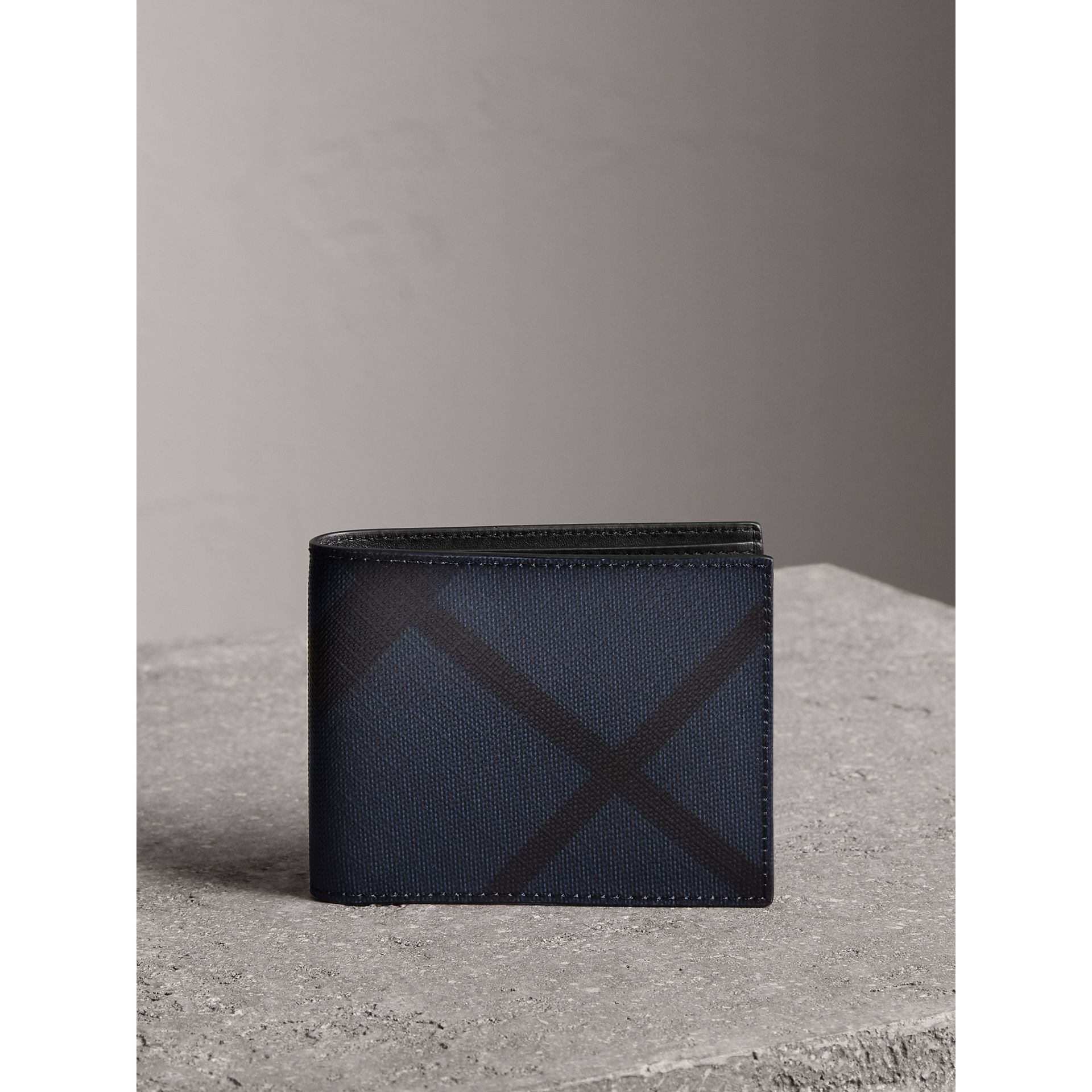 London Check and Leather Bifold Wallet in Navy/black - Men | Burberry Singapore - gallery image 5