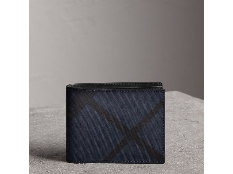 London Check and Leather Bifold Wallet in Navy/black - Men | Burberry Singapore - cell image 4
