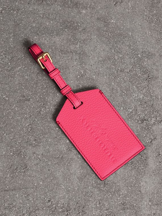 Embossed Leather Luggage Tag in Bright Pink