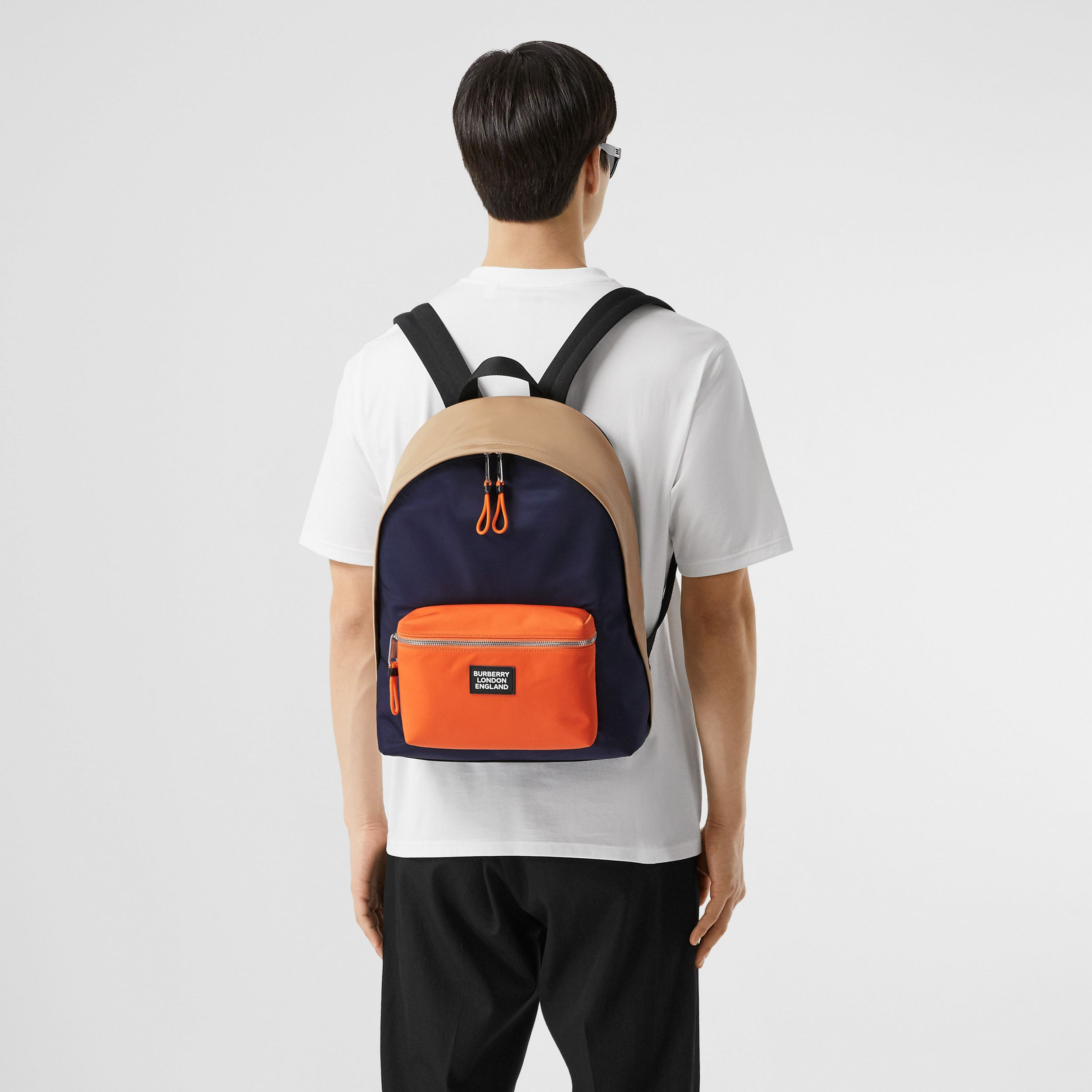 Colour Block ECONYL® Backpack in Regency Blue/bright Orange - Men | Burberry - 4