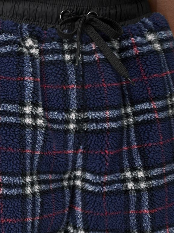 Vintage Check Faux Shearling Drawcord Shorts in Navy - Men | Burberry - cell image 1