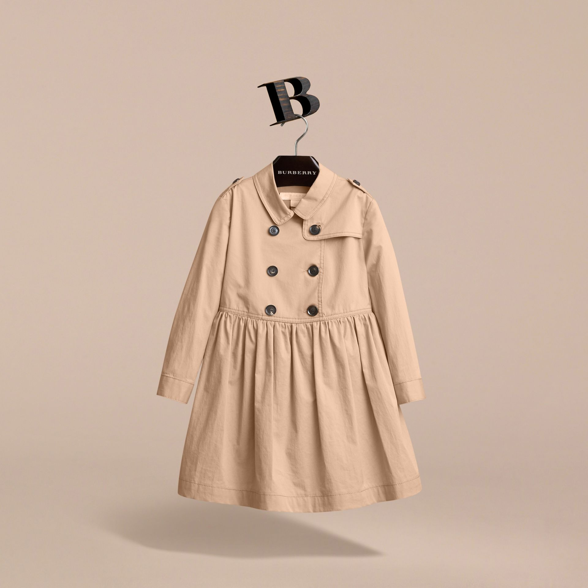 Check Detail Stretch Cotton Trench Dress in Honey - Girl | Burberry - gallery image 4