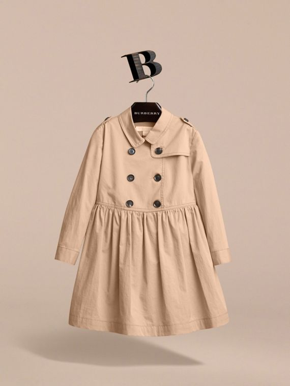 Check Detail Stretch Cotton Trench Dress in Honey - Girl | Burberry - cell image 3