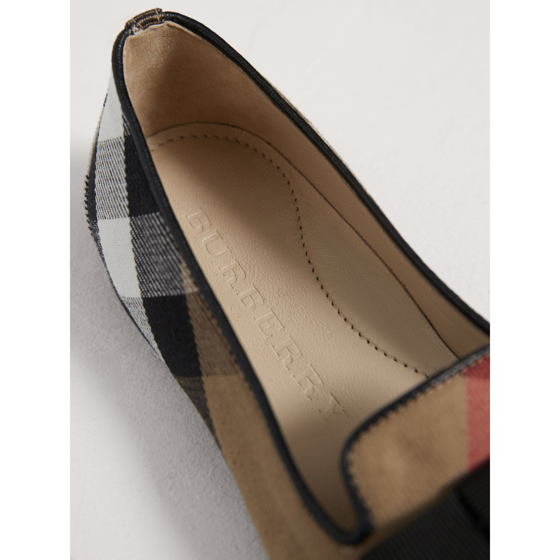 Bow Detail House Check Ballerinas in Classic - Girl | Burberry - gallery image 1