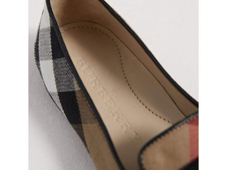 Bow Detail House Check Ballerinas in Classic - Girl | Burberry - cell image 1