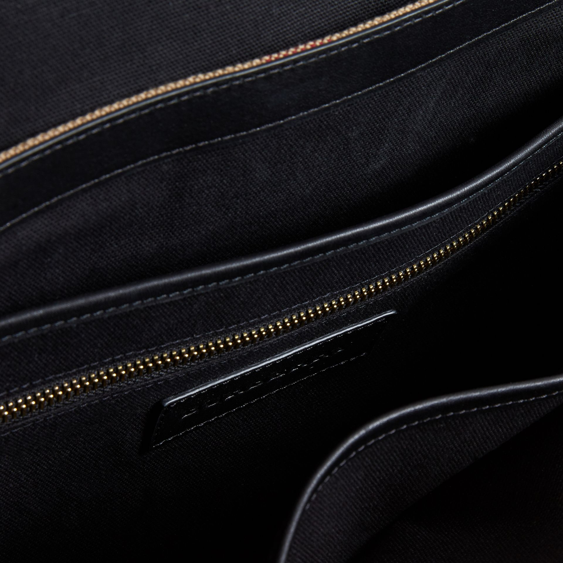 Large Leather Trim Canvas Check Messenger Bag in Black - Men | Burberry United States - gallery image 5