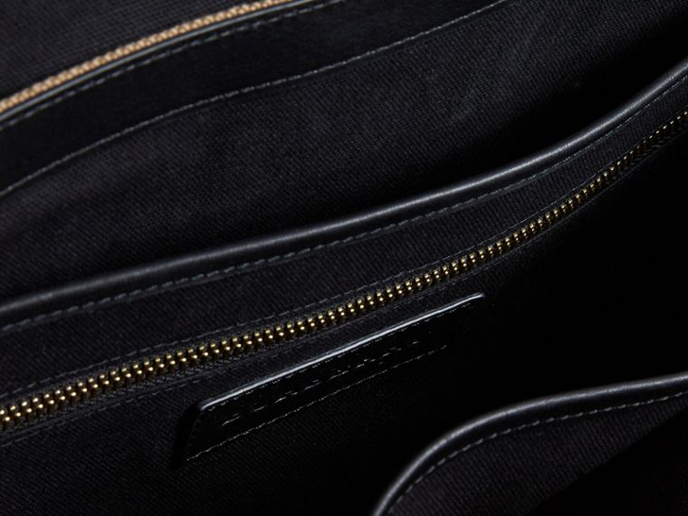 Large Leather Trim Canvas Check Messenger Bag - Men | Burberry - cell image 4