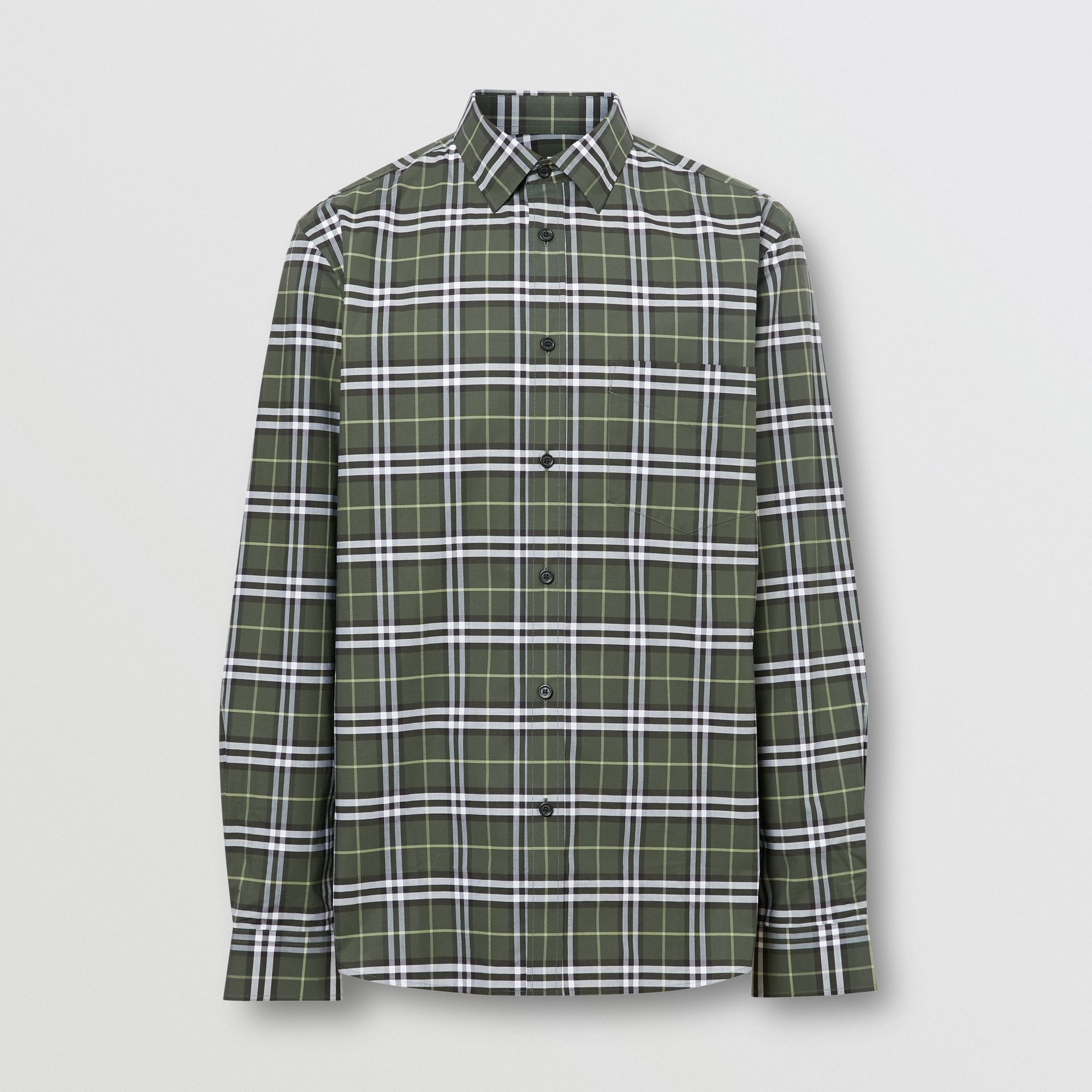 Small Scale Check Stretch Cotton Shirt in Seaweed - Men | Burberry - gallery image 3