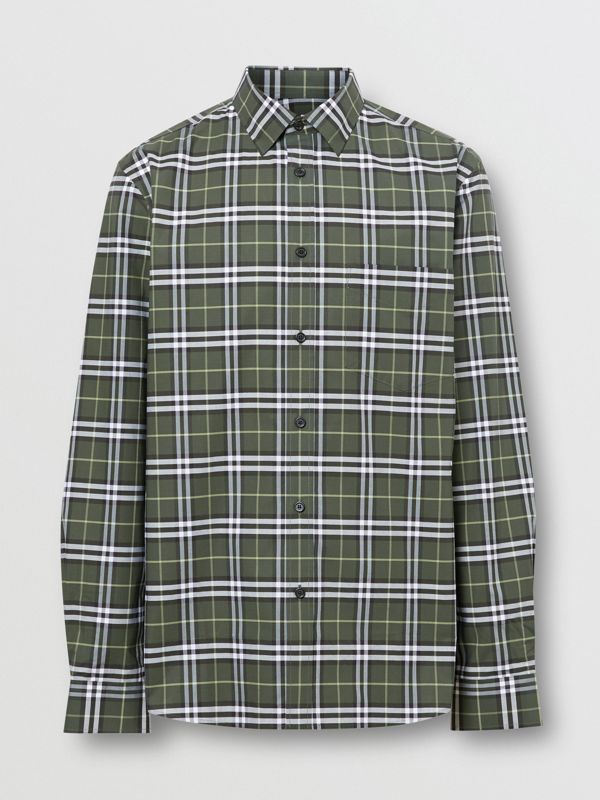 Small Scale Check Stretch Cotton Shirt in Seaweed - Men | Burberry - cell image 3