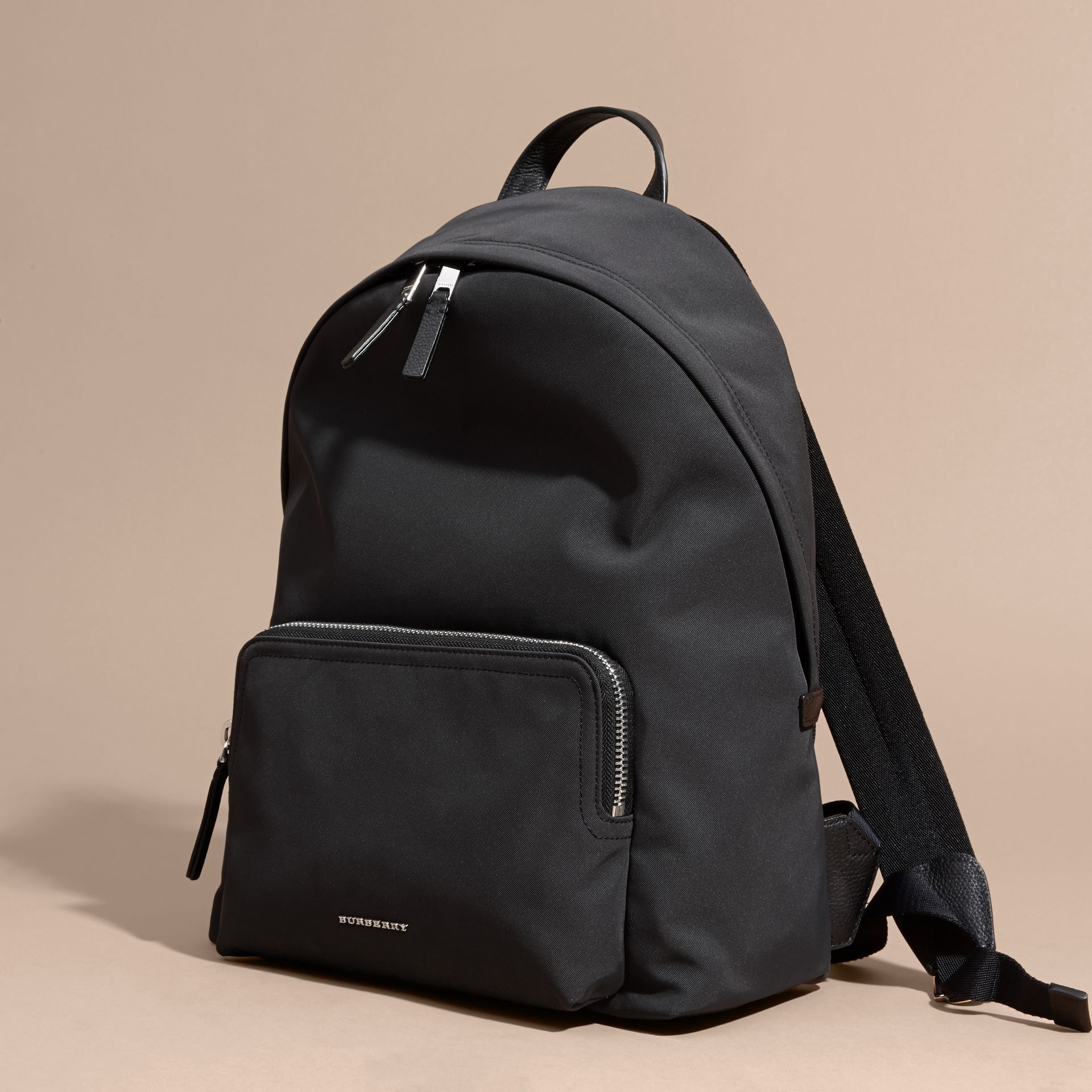 Leather Trim Technical Backpack in Black - gallery image 7