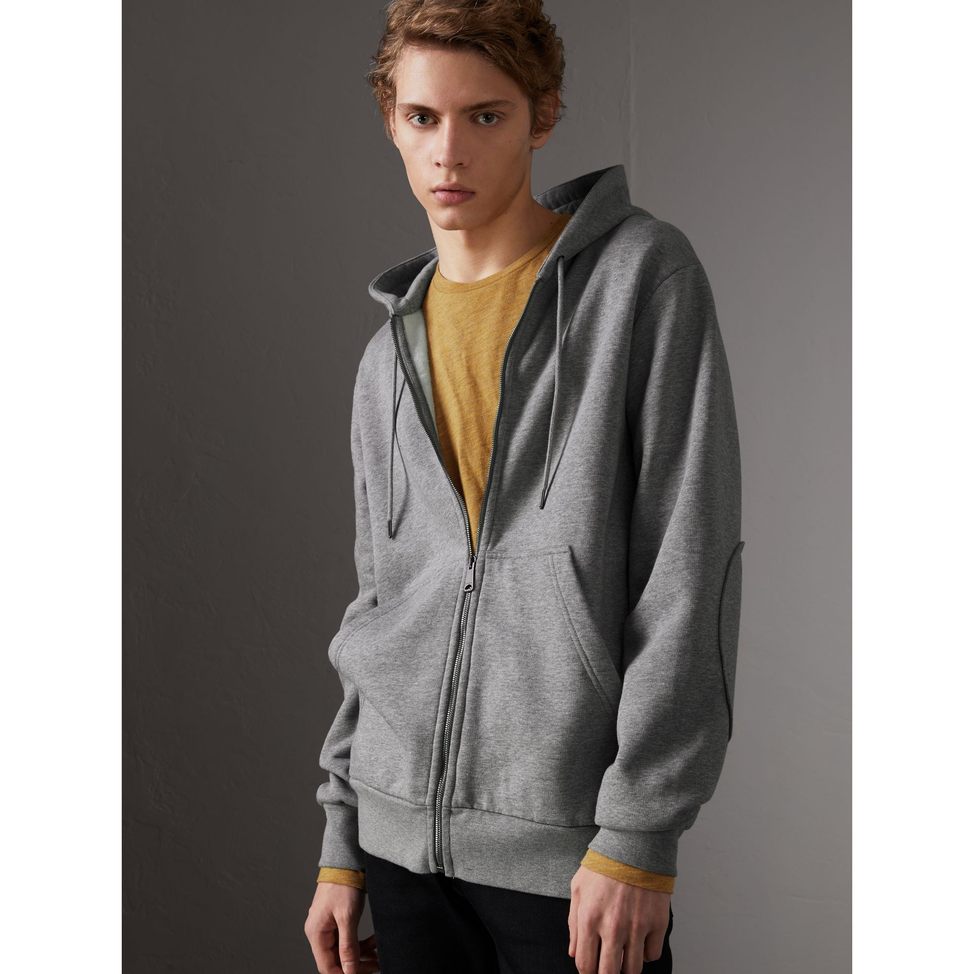 Cotton Jersey Zip-front Hooded Top in Pale Grey Melange - Men | Burberry Canada - gallery image 0