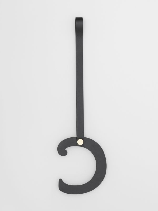 'C' Studded Leather Alphabet Charm in Black/light Gold - Women | Burberry United Kingdom - cell image 2