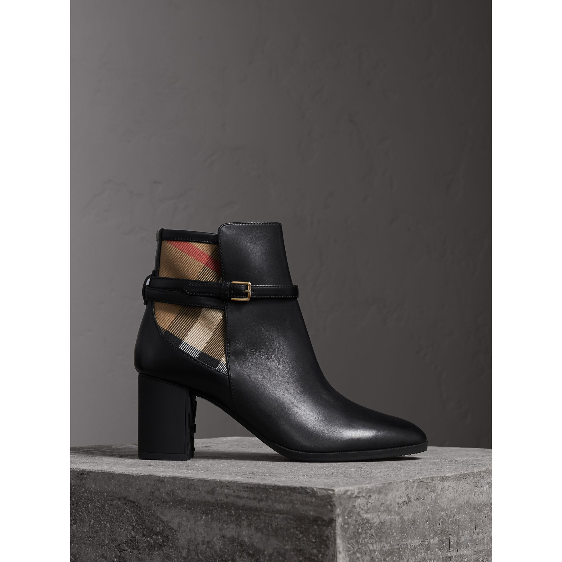 House Check and Leather Ankle Boots in Black - Women | Burberry Australia - gallery image 1