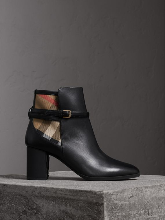 House Check and Leather Ankle Boots in Black