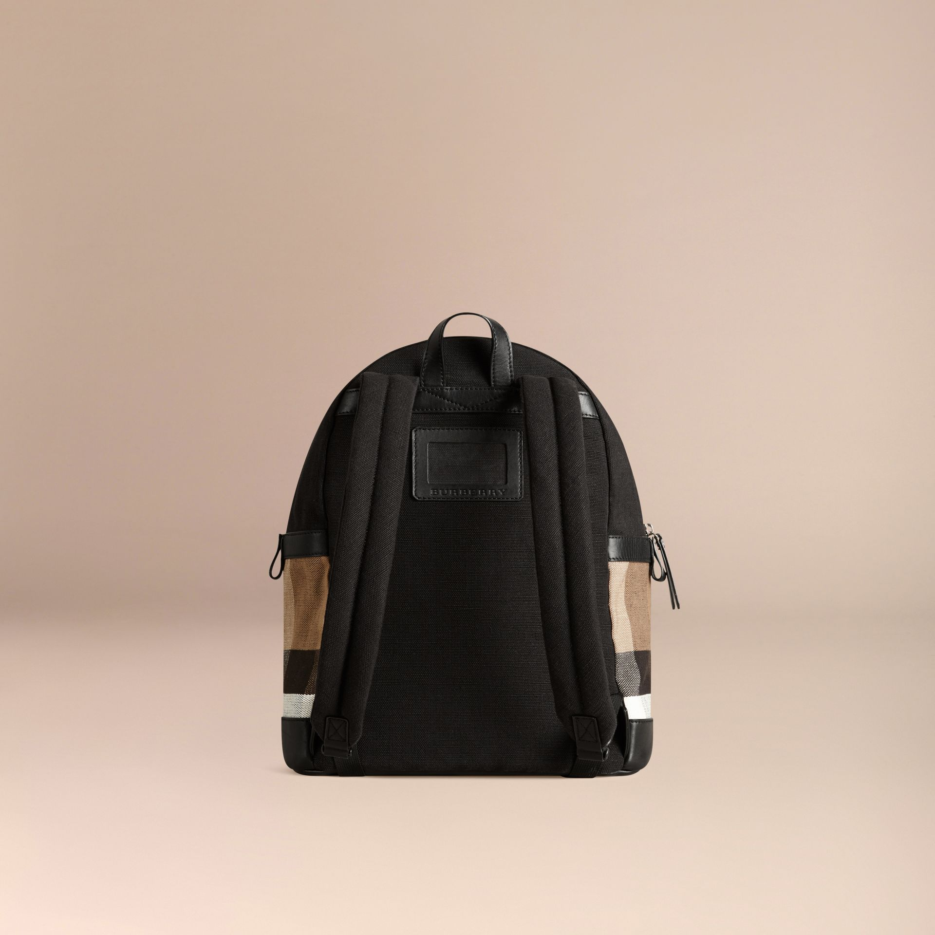 Black Canvas Check and Leather Backpack - gallery image 3