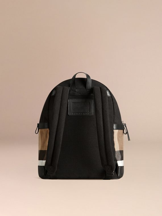 Canvas Check and Leather Backpack in Black | Burberry - cell image 2