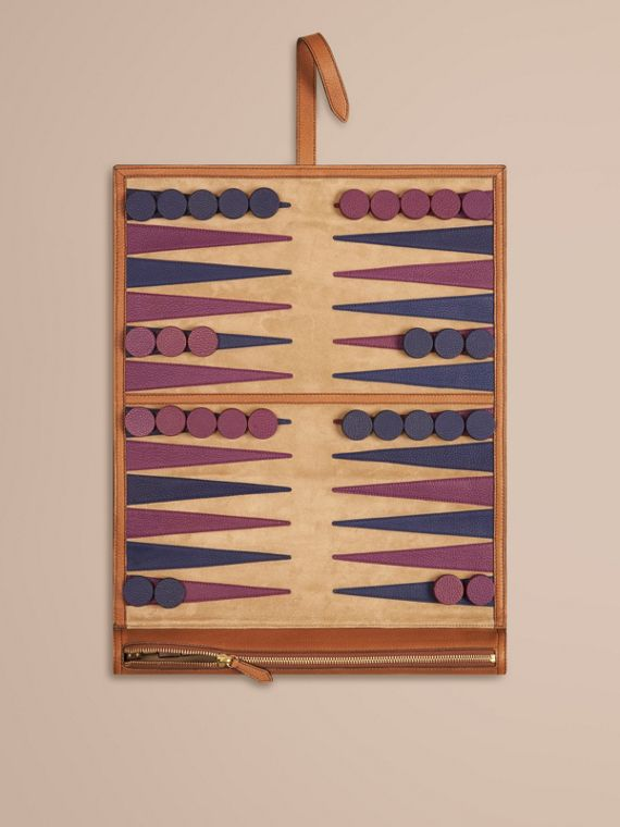 Reise-Backgammon-Set aus Leder (Hellbraun)