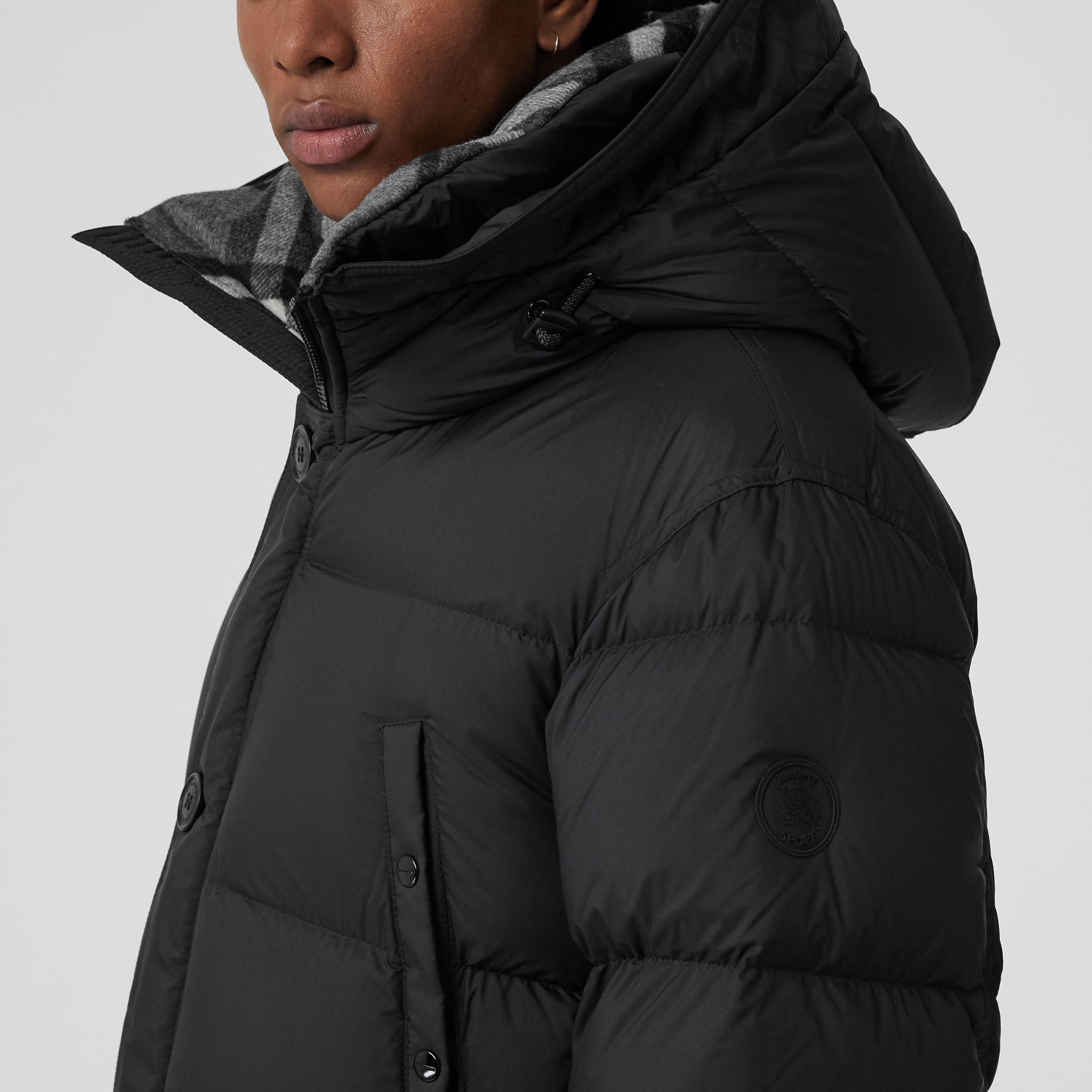 Check Detail Down-filled Hooded Puffer Coat in Black - Men | Burberry - gallery image 4
