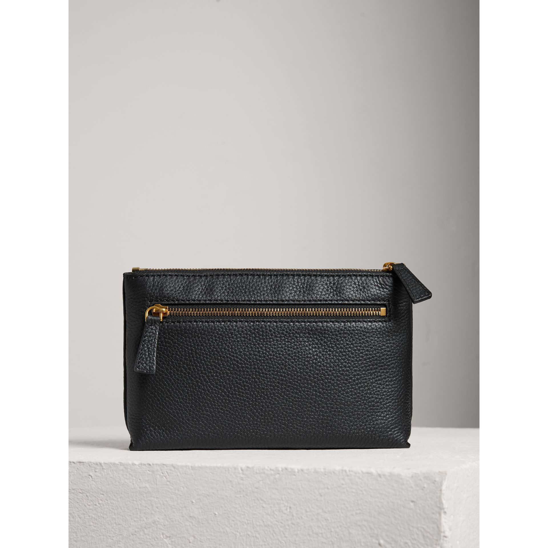 Medium Embossed Leather Zip Pouch in Black | Burberry Singapore - gallery image 2