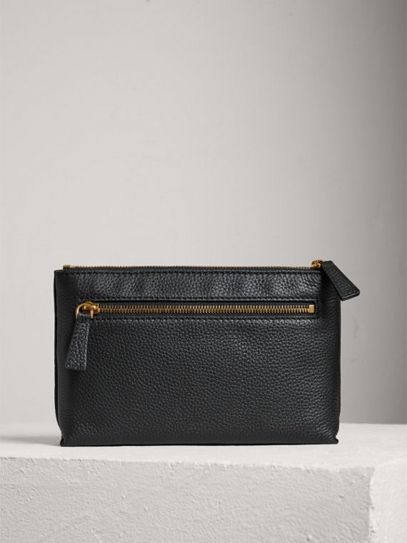 Medium Embossed Leather Zip Pouch in Black | Burberry United States - cell image 2