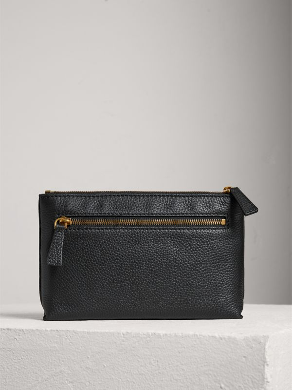 Medium Embossed Leather Zip Pouch in Black | Burberry Singapore - cell image 2