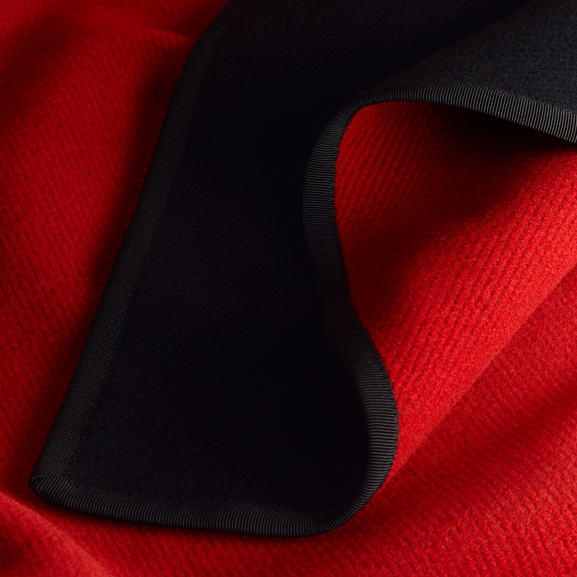 Wool Cashmere Military Cape in Black/parade Red - gallery image 2