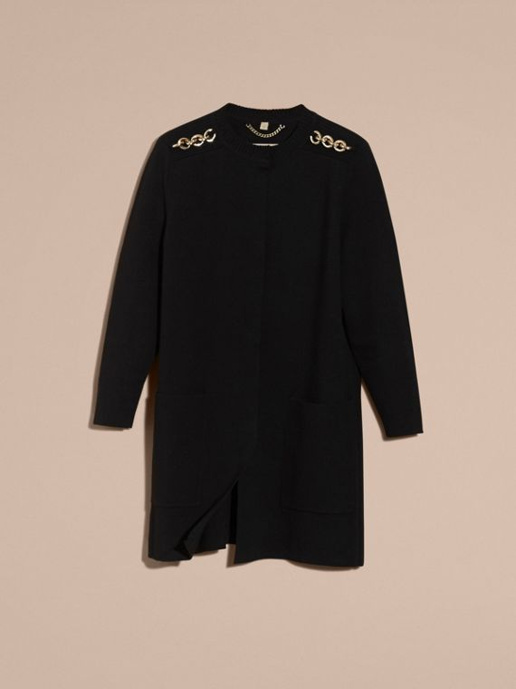 Black Chain Detail Wool Cashmere Blend Knitted Coat - cell image 2