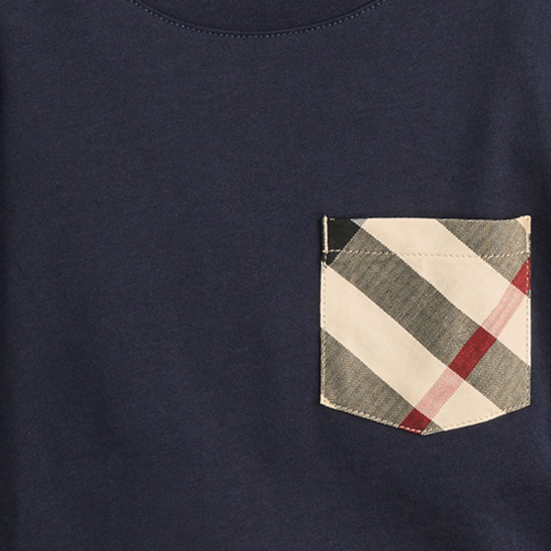 Long-sleeve Check Pocket Cotton T-shirt in True Navy - gallery image 2