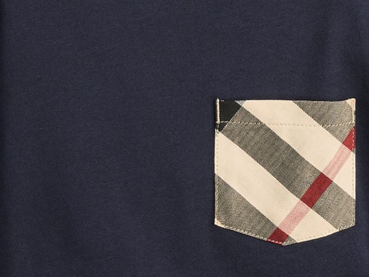 Long-sleeve Check Pocket Cotton T-shirt in True Navy - Boy | Burberry United Kingdom - cell image 1