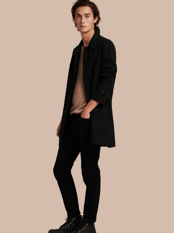 Cotton Gabardine Car Coat in Black