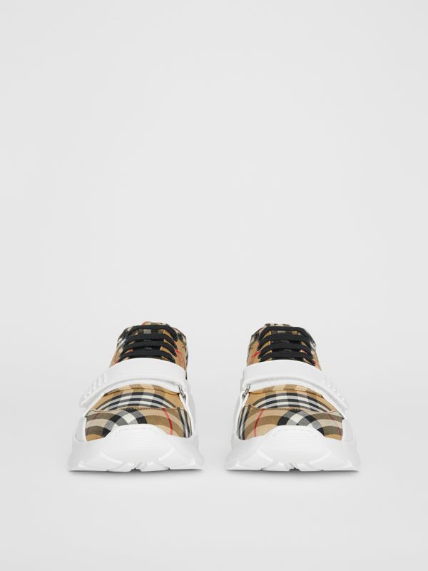 Vintage Check Cotton Sneakers in Antique Yellow - Men | Burberry United Kingdom - cell image 3