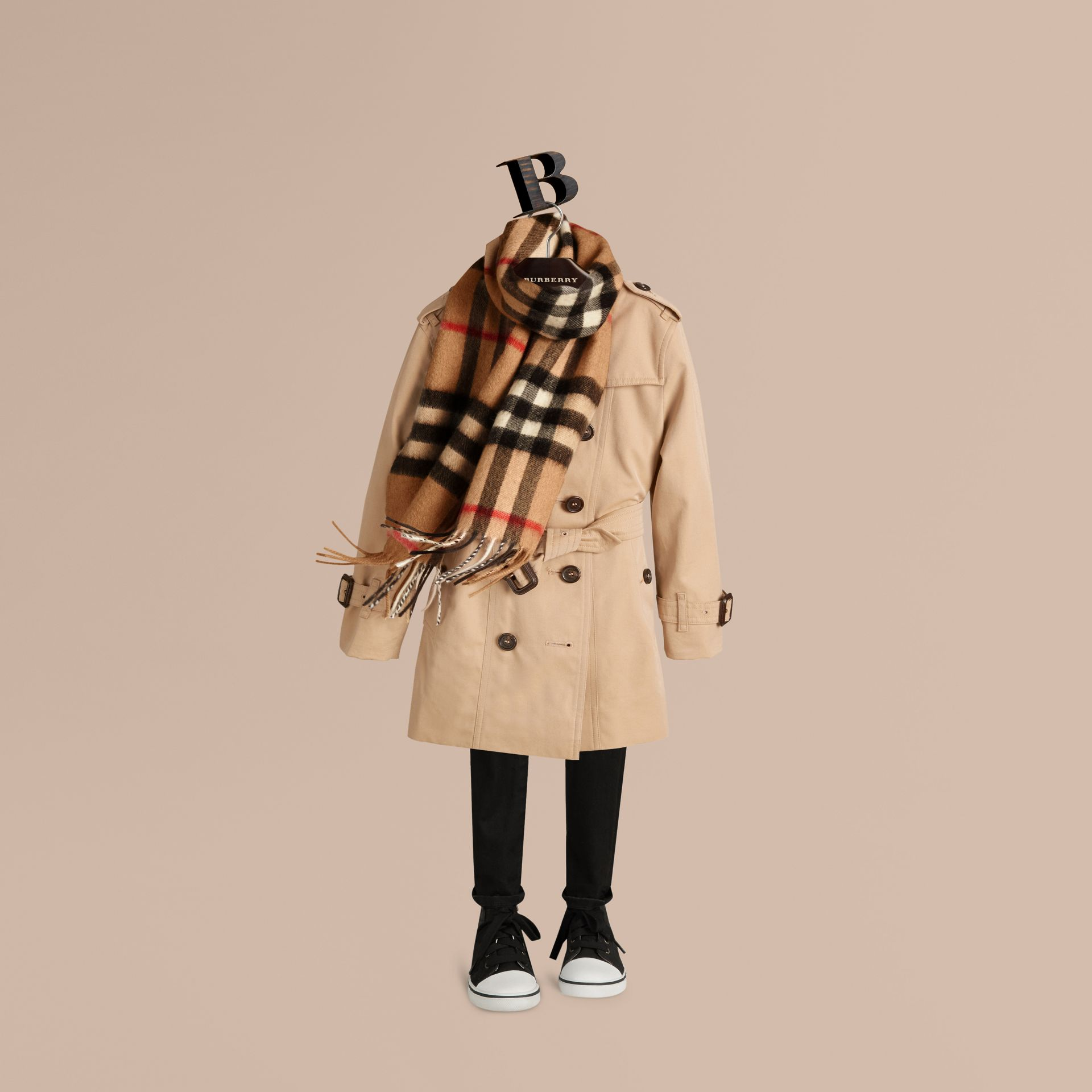 Camel check The Mini Classic Cashmere Scarf in Check Camel - gallery image 3