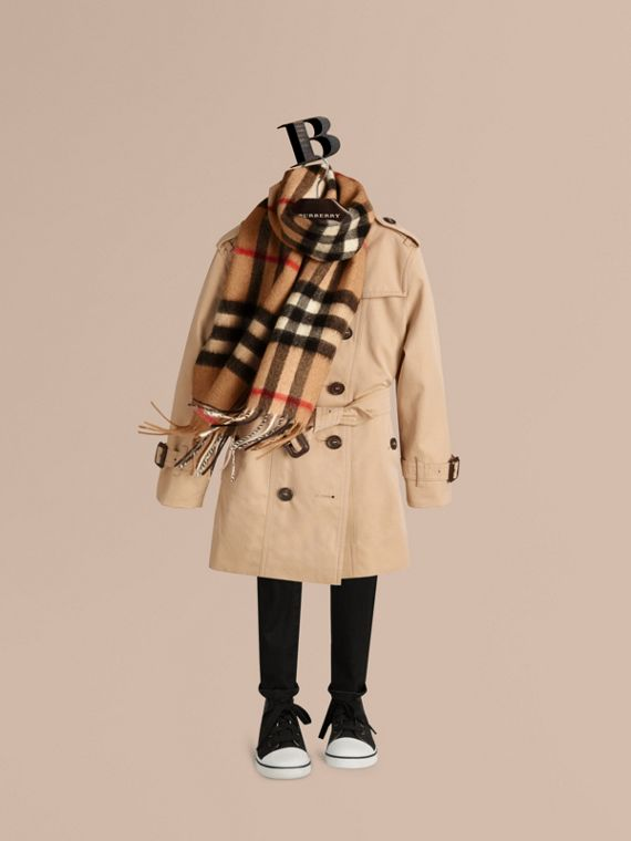 The Mini Classic Cashmere Scarf in Check in Camel | Burberry Australia - cell image 2