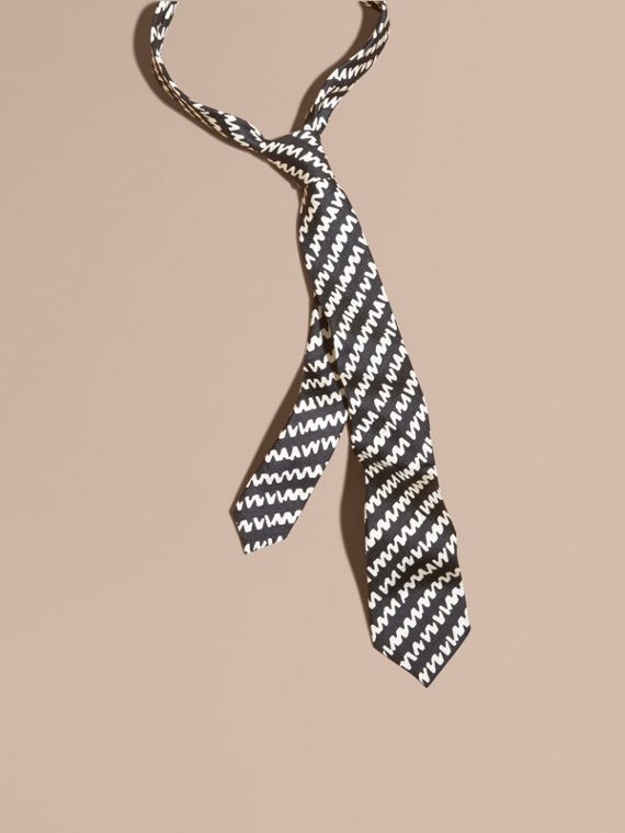 Slim Cut Graphic Print Silk Tie