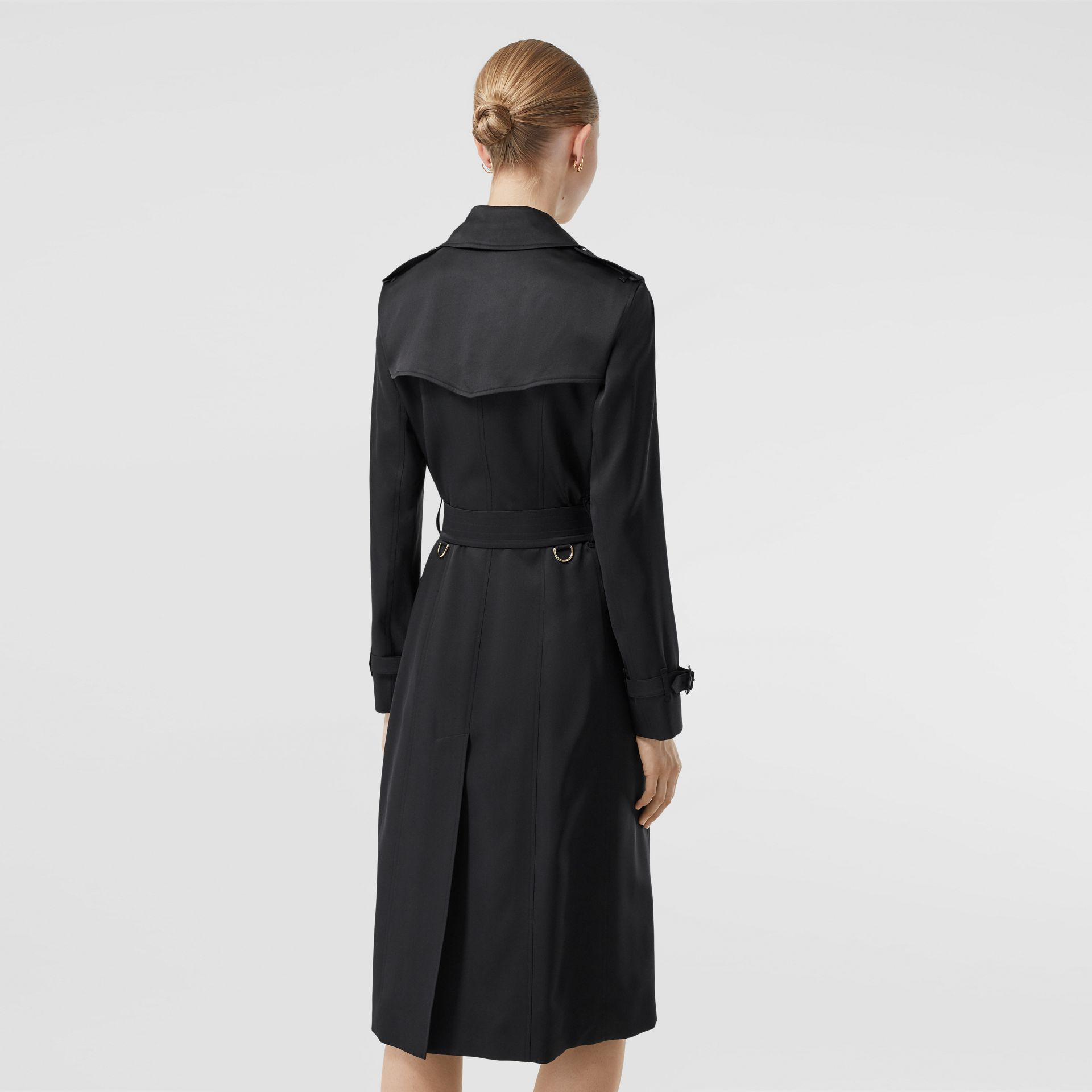 Silk Satin Trench Coat in Black - Women | Burberry - gallery image 2