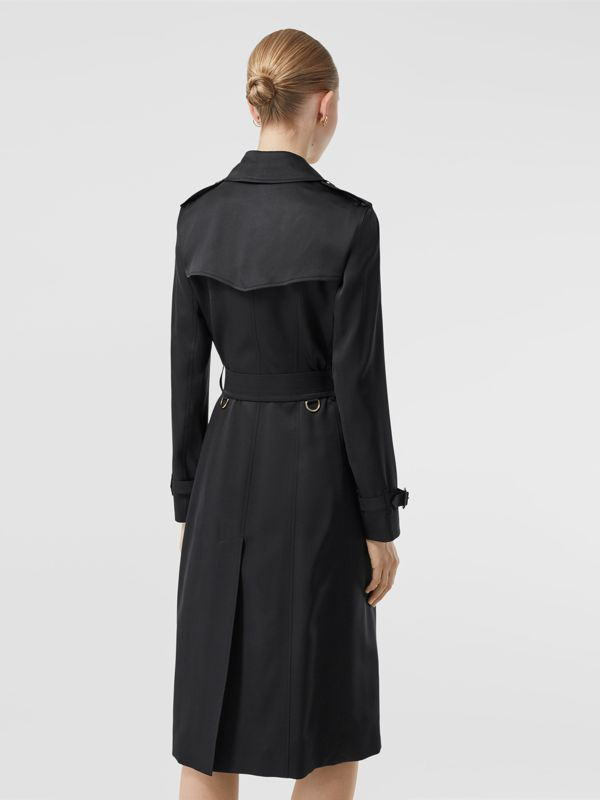 Silk Satin Trench Coat in Black - Women | Burberry - cell image 2