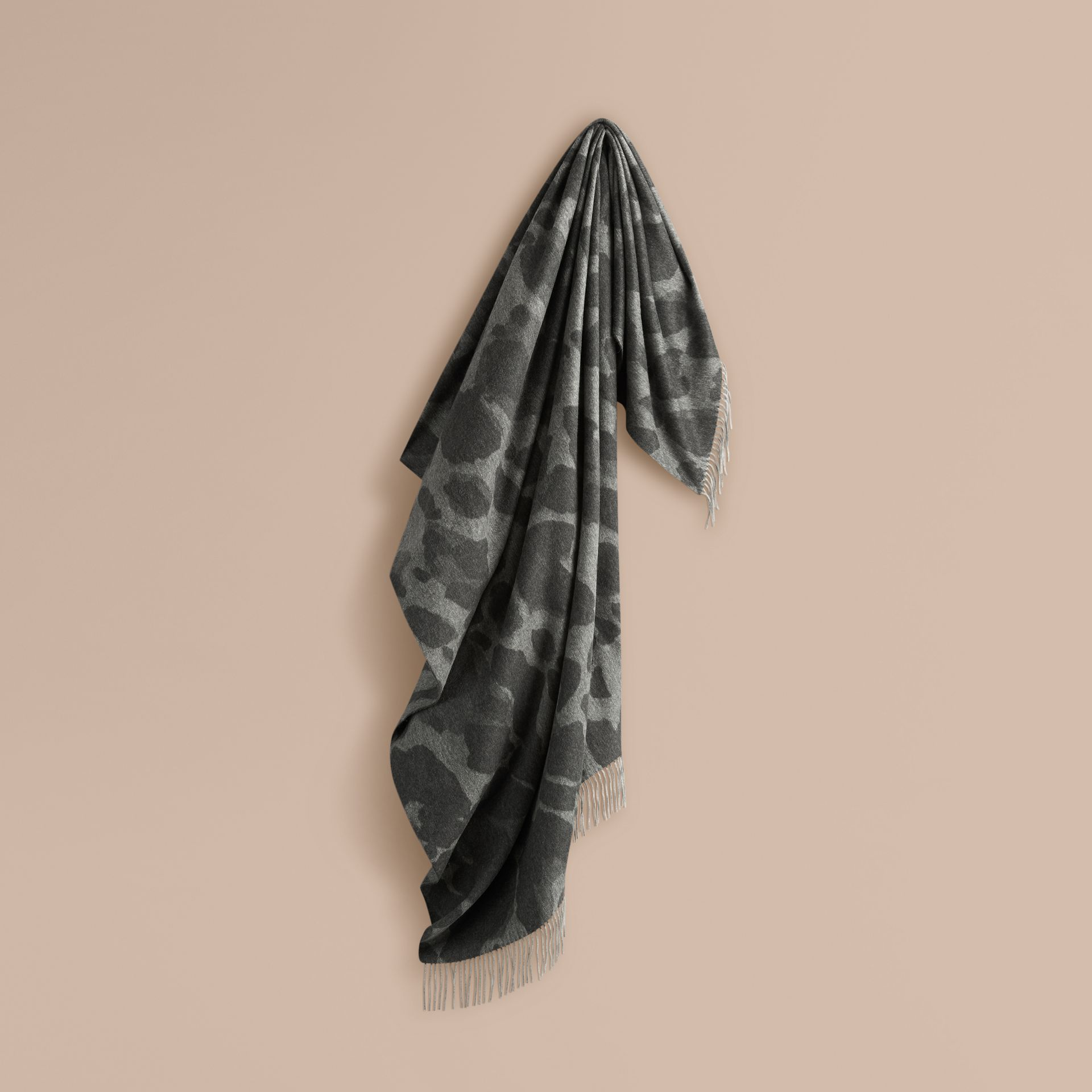 Mid grey print Animal Jacquard Cashmere Blanket Mid Grey Print - gallery image 1