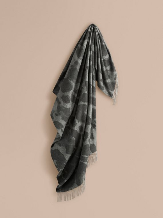 Animal Jacquard Cashmere Blanket Mid Grey Print