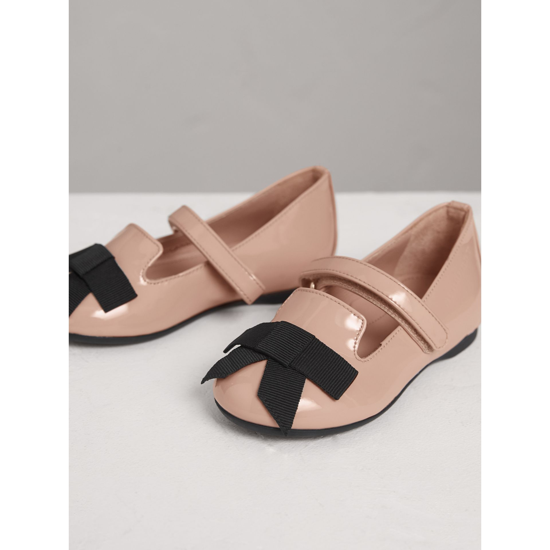 Bow Detail Patent Leather Ballerinas in Apricot Pink | Burberry Australia - gallery image 3