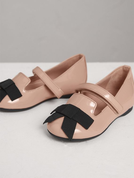Bow Detail Patent Leather Ballerinas in Apricot Pink | Burberry Australia - cell image 3
