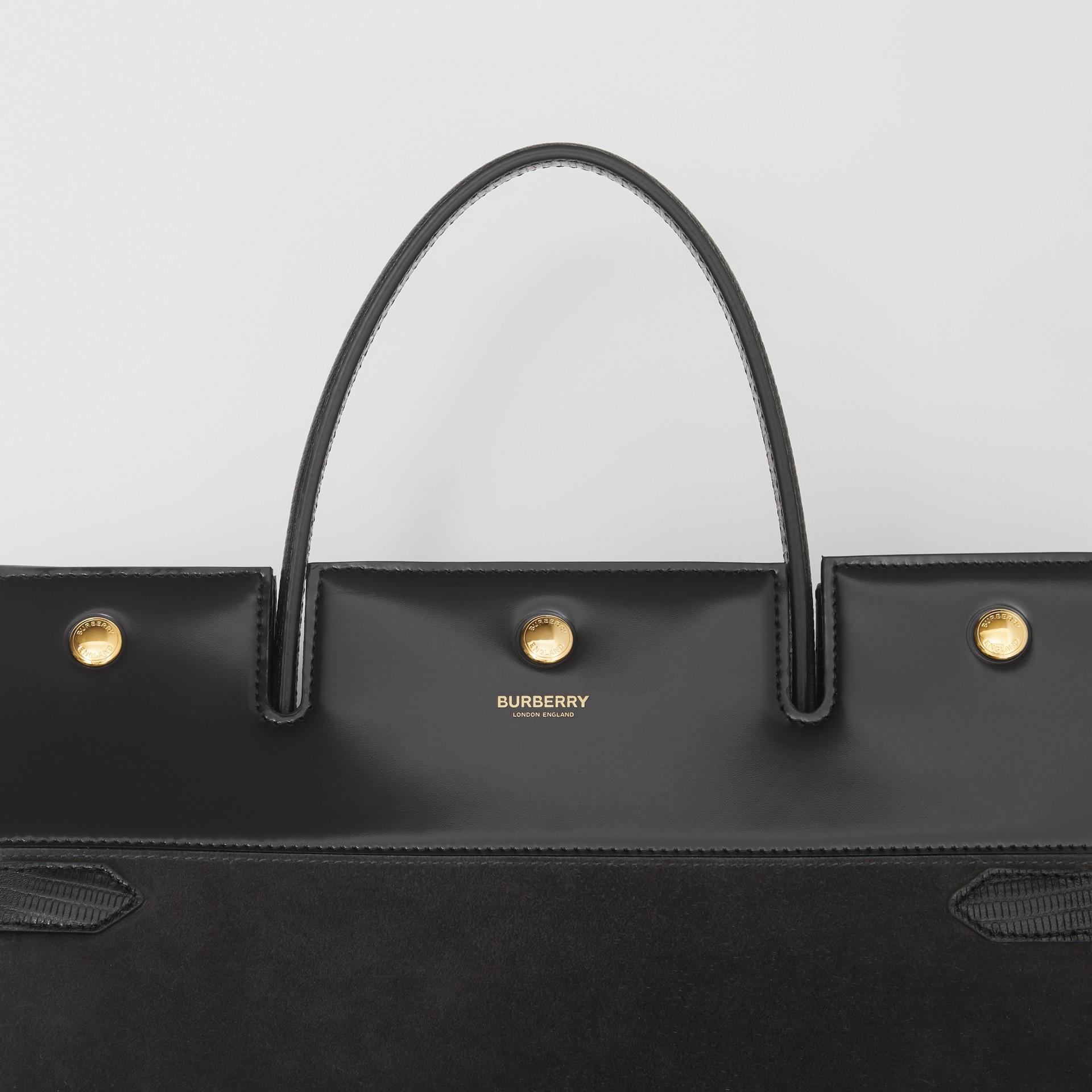Sac Title moyen en cuir de cerf et cuir velours (Noir) - Femme | Burberry Canada - photo de la galerie 1